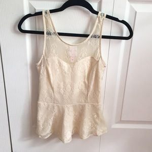 Tops - Ivory Lace Overlay Peplum size s